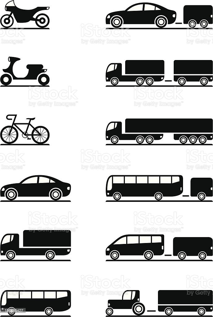 Road vehicles icons vector art illustration