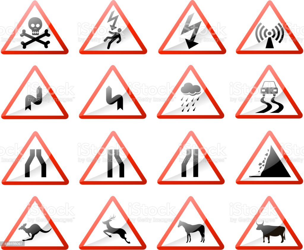 road warning sign royalty-free stock vector art