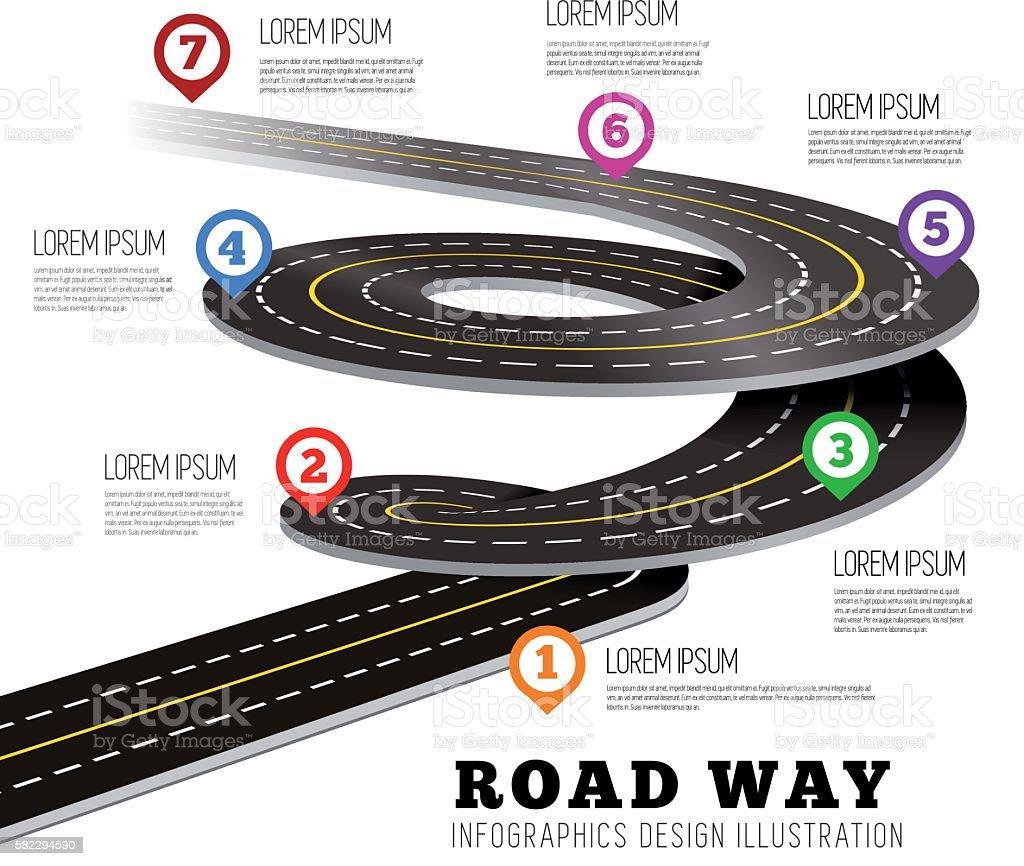 Road way design infographics. royalty-free stock vector art
