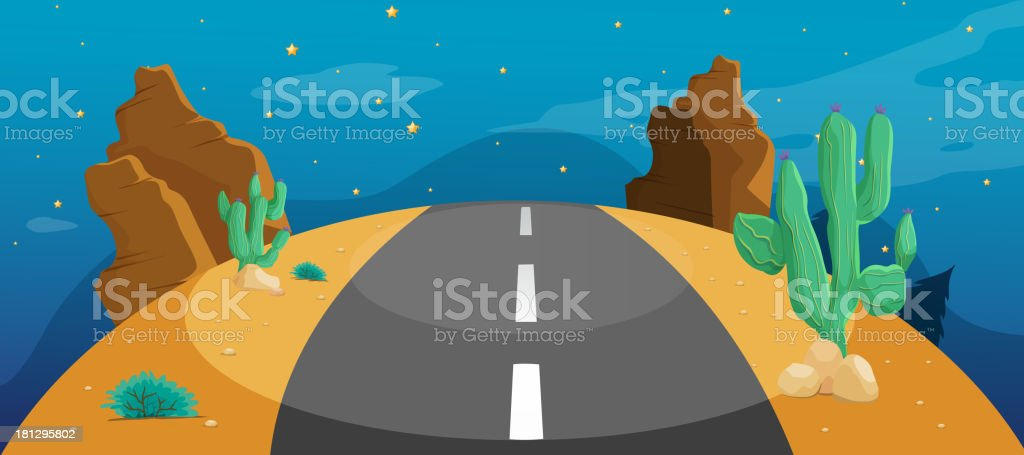road with cactus royalty-free stock vector art