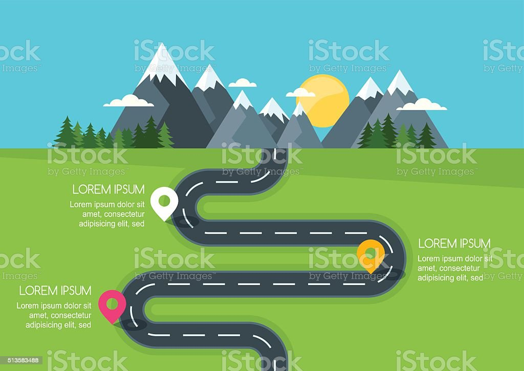 Road with markers, vector infographics template. vector art illustration