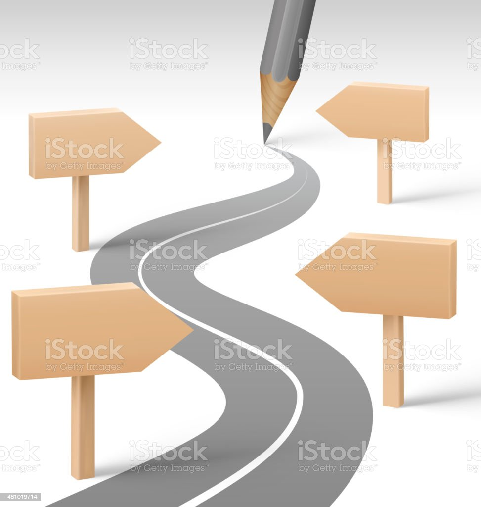Road with Pencil and Wooden Signposts on Grayscale vector art illustration