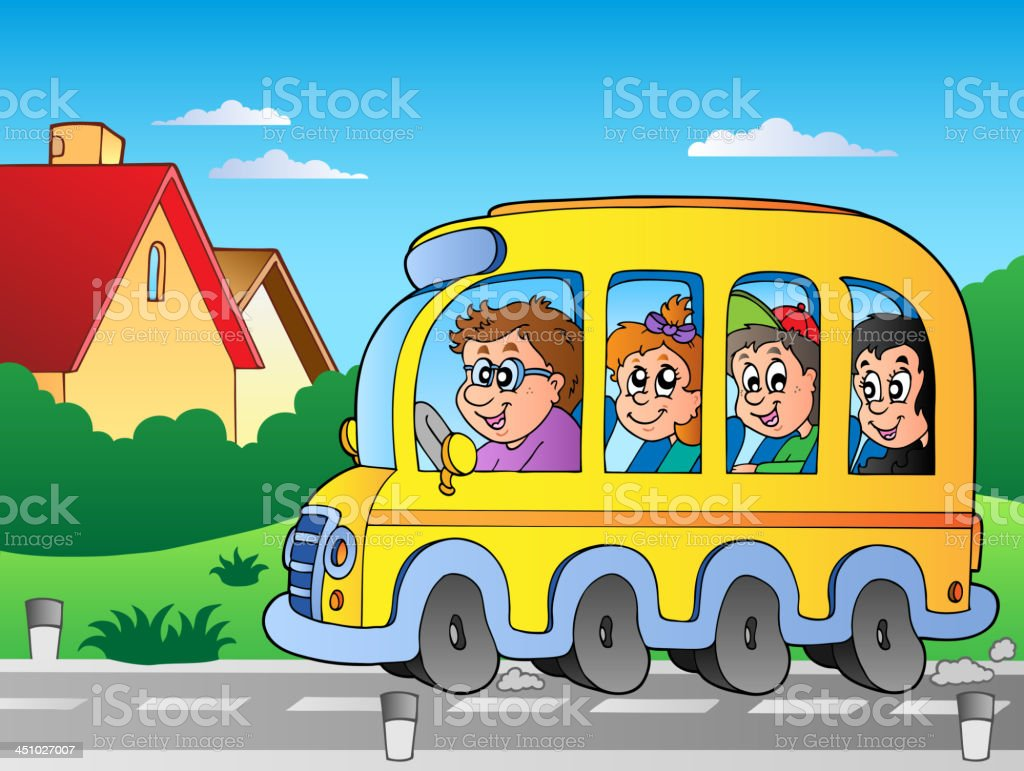 Road with school bus 1 royalty-free stock vector art