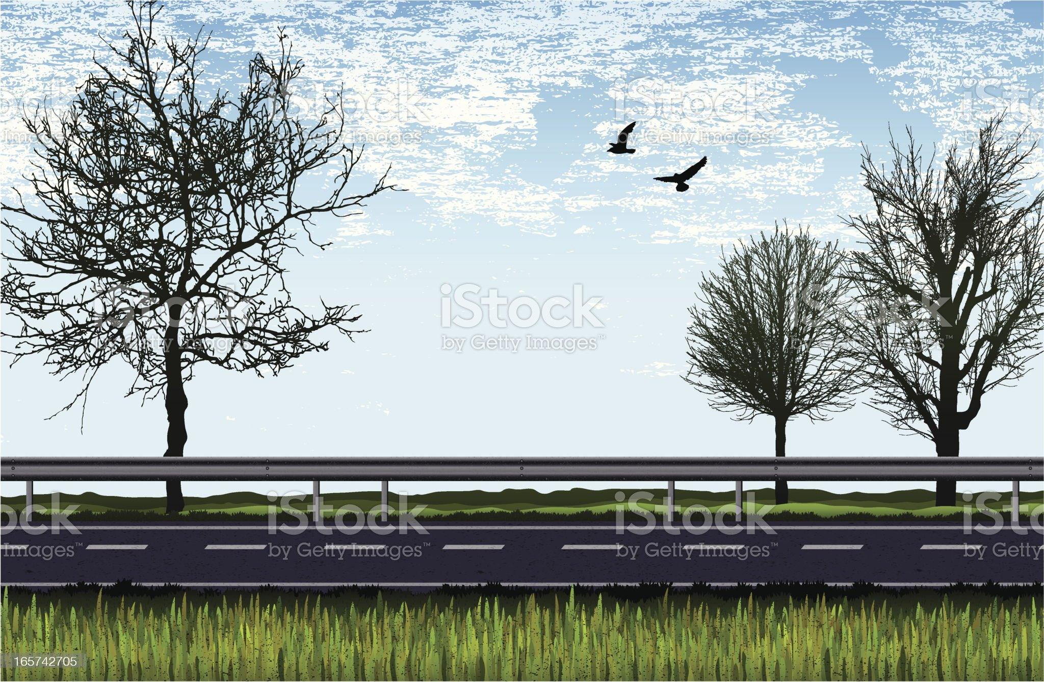 road with trees, grass and birds -daylight royalty-free stock vector art