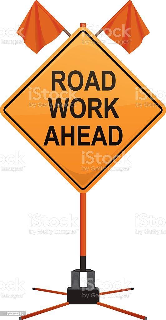 Road Work Ahead Sign royalty-free stock vector art