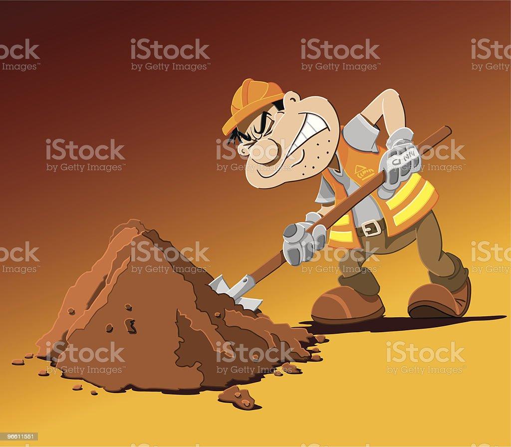 Road Work Cartoon Man Shovel vector art illustration