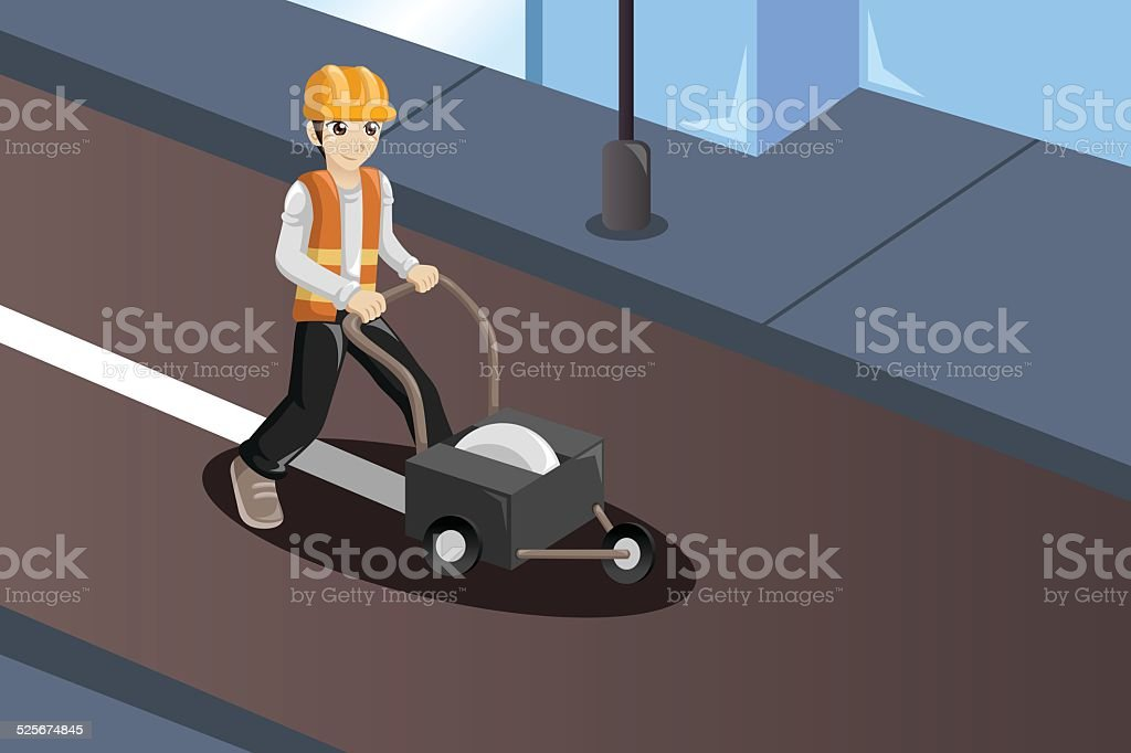 Road worker painting the road lines vector art illustration
