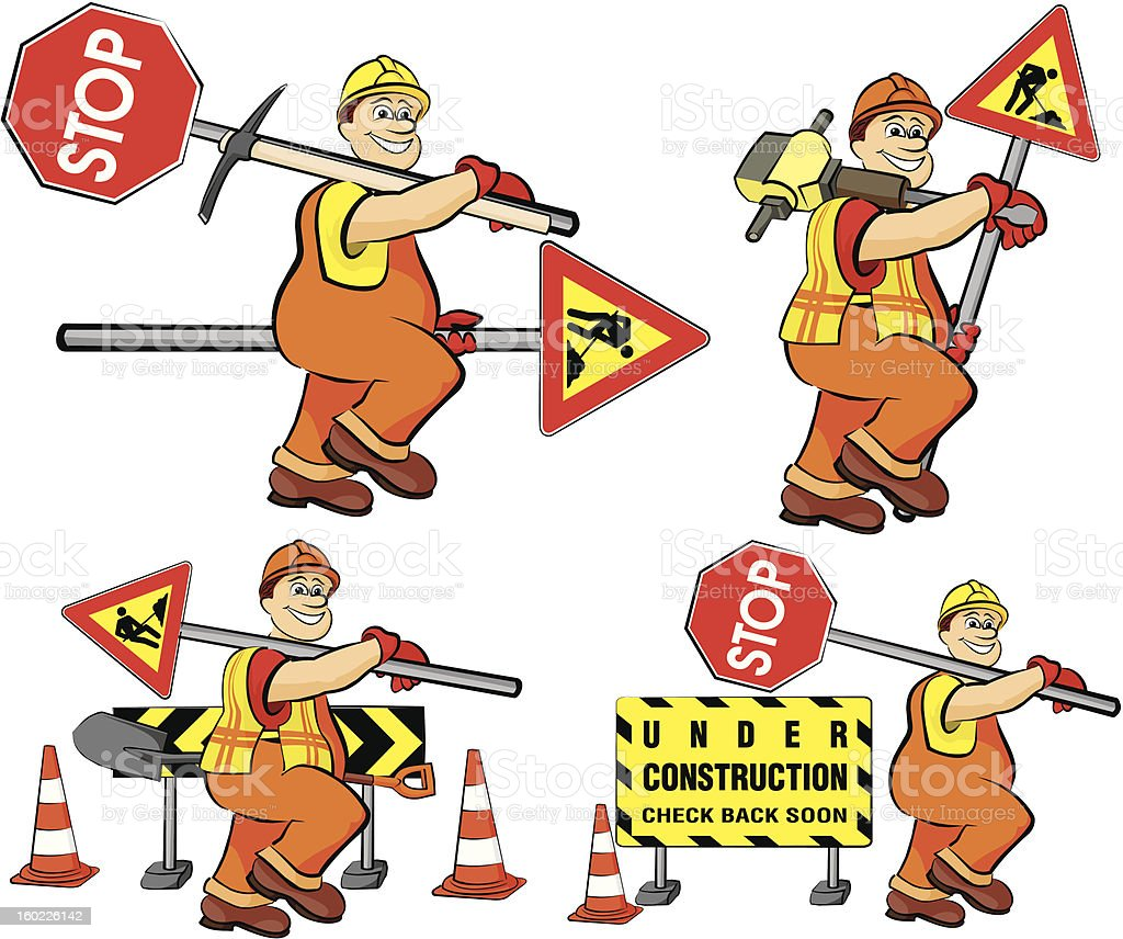 road worker - under construction royalty-free stock vector art