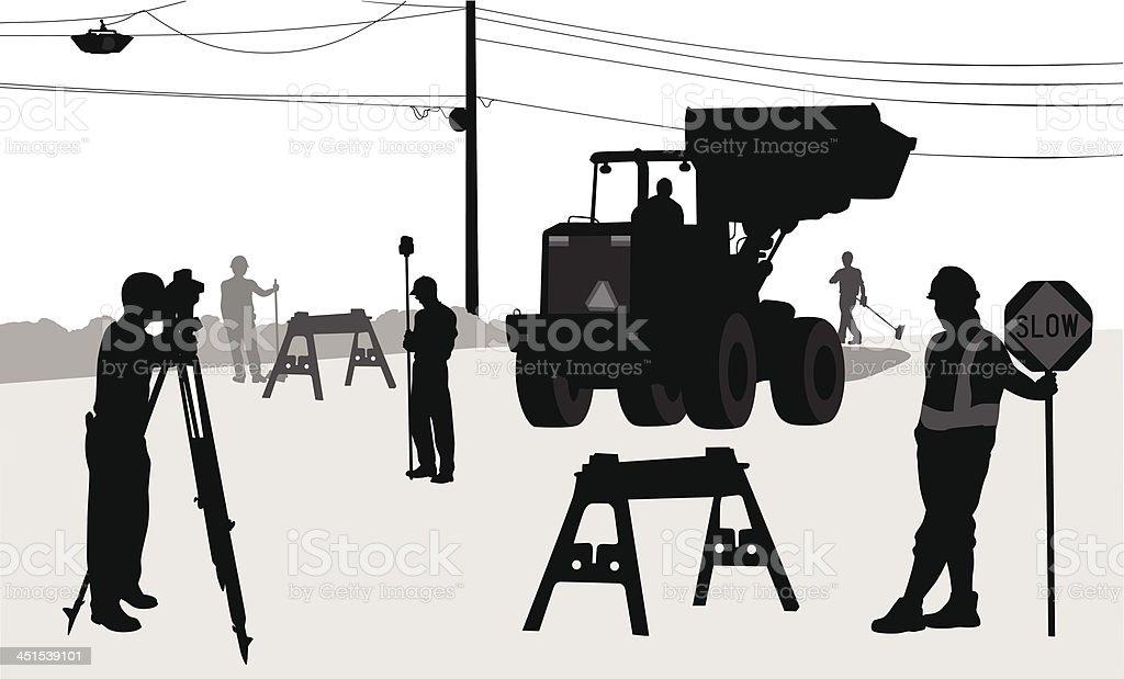Road Workers vector art illustration