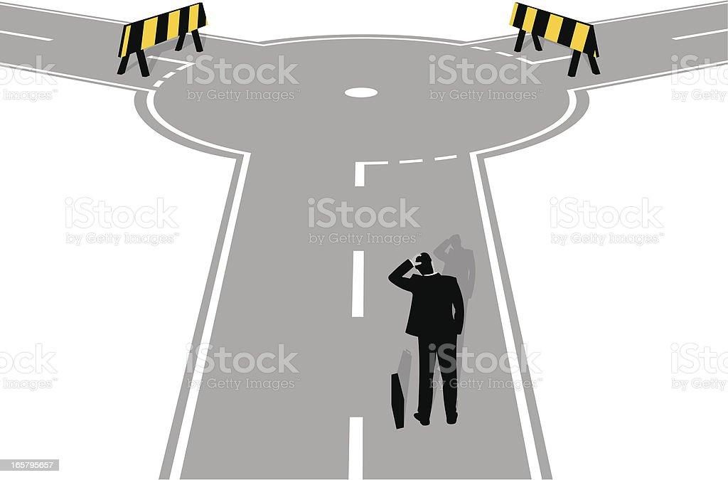 Roadblock ahead vector art illustration