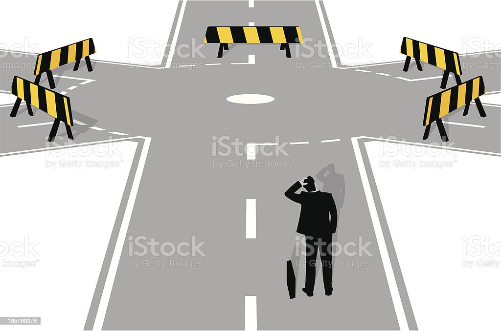 Roadblock vector art illustration
