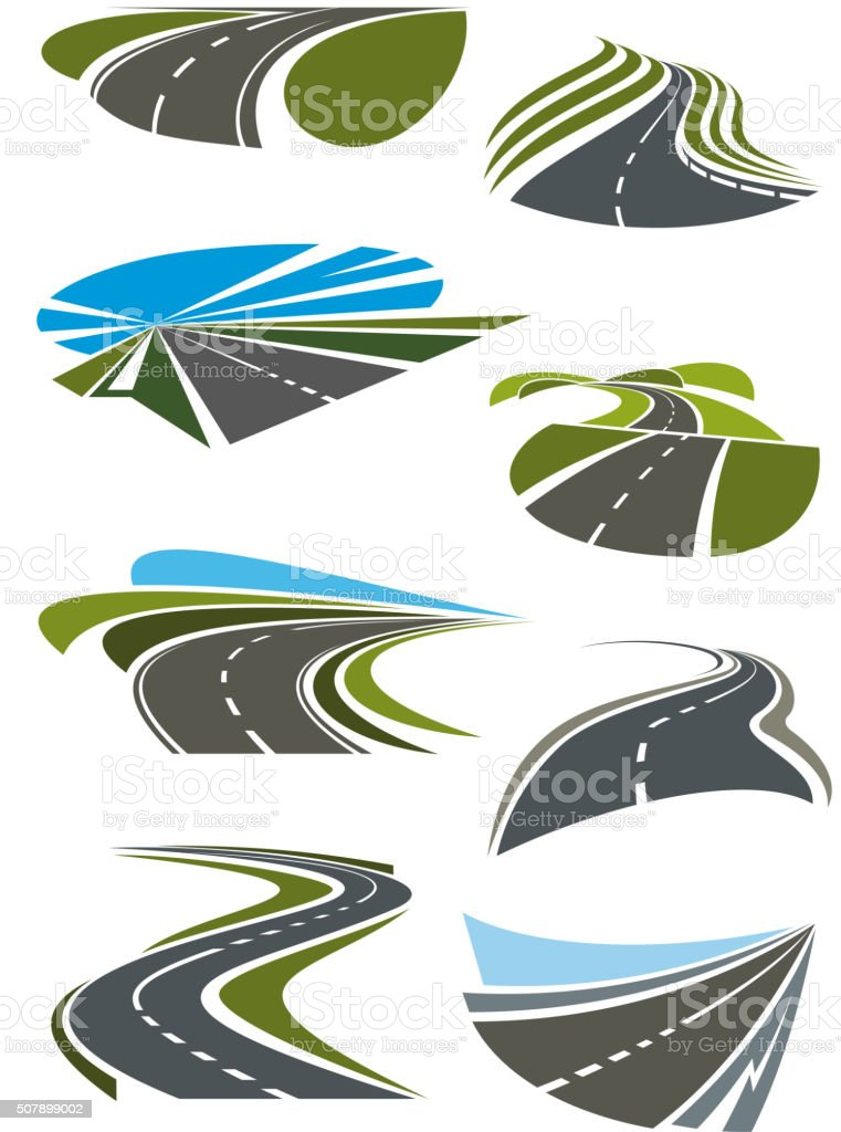 Roads and highway icons set vector art illustration