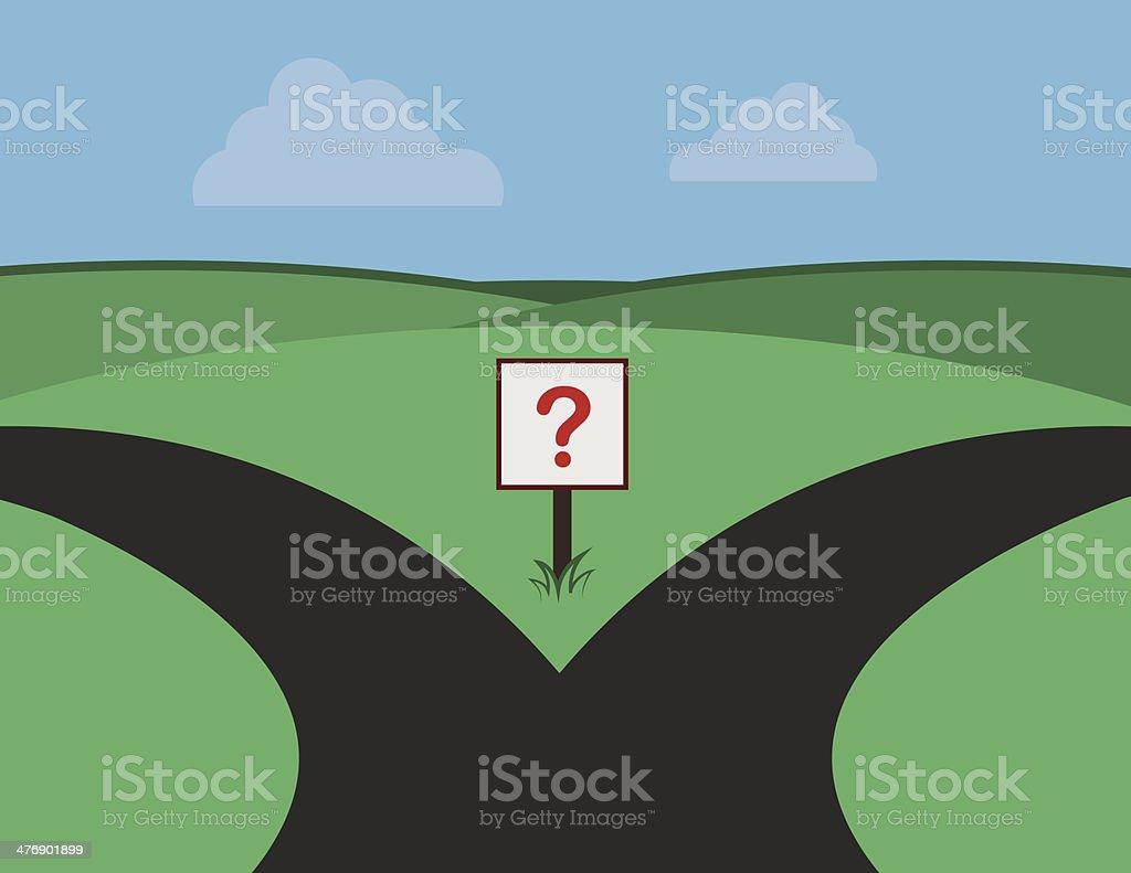 Roads Split Question Sign vector art illustration