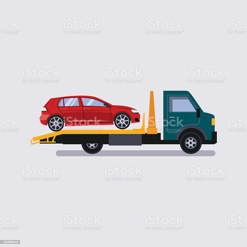 Roadside assistance tow truck illustration car vector art illustration