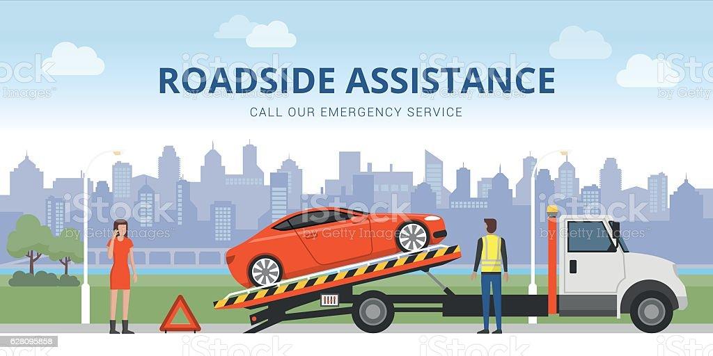 Roadside assistance vector art illustration
