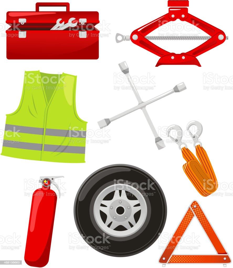 Roadside emergency vehicle road kit vector art illustration