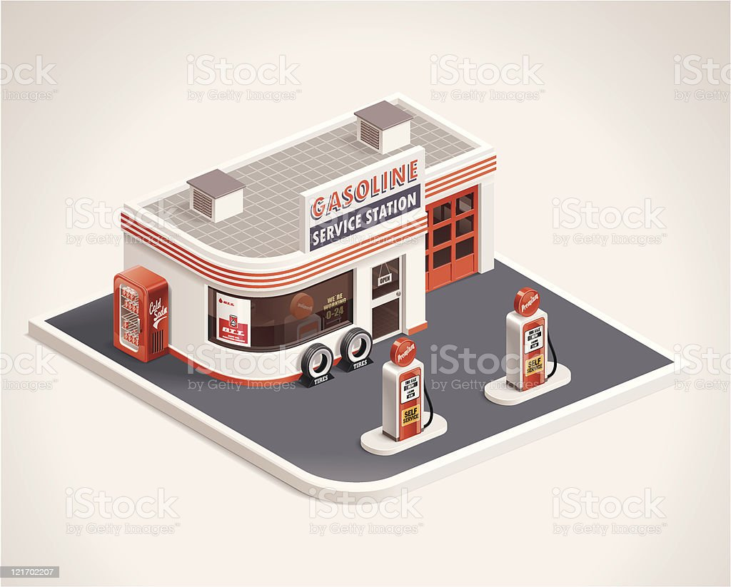 Roadside gas station XXL icon royalty-free stock vector art
