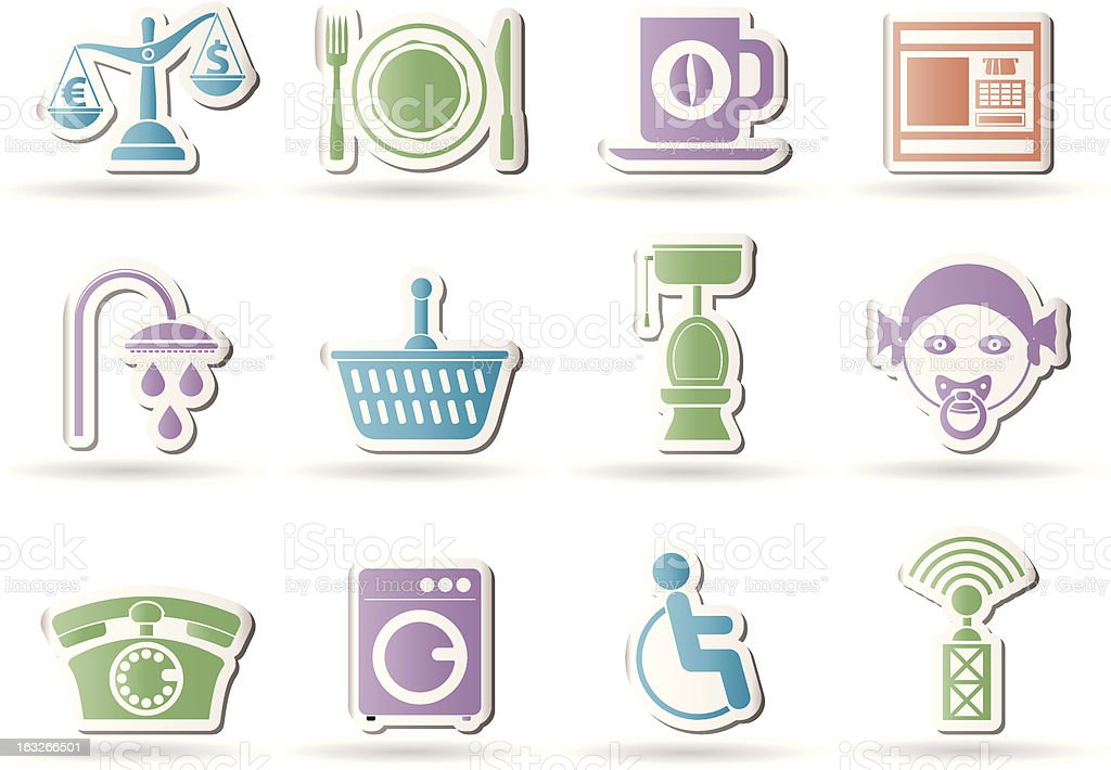 Roadside, hotel and motel services icons royalty-free stock vector art