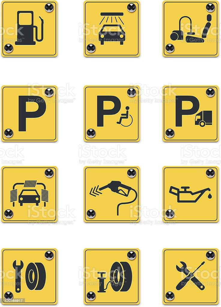 Roadside services signs icon set vector art illustration