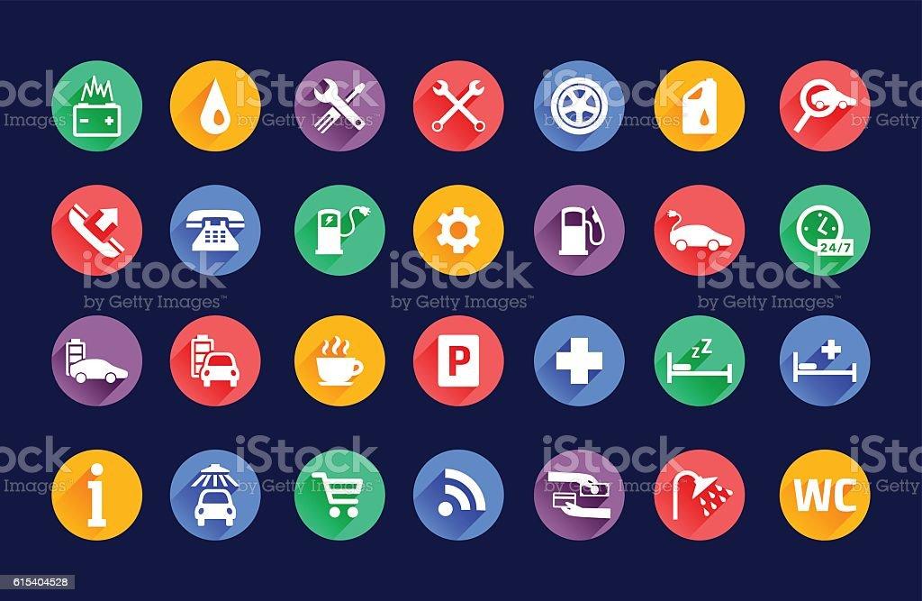 Roadside services transportation icons vector set vector art illustration