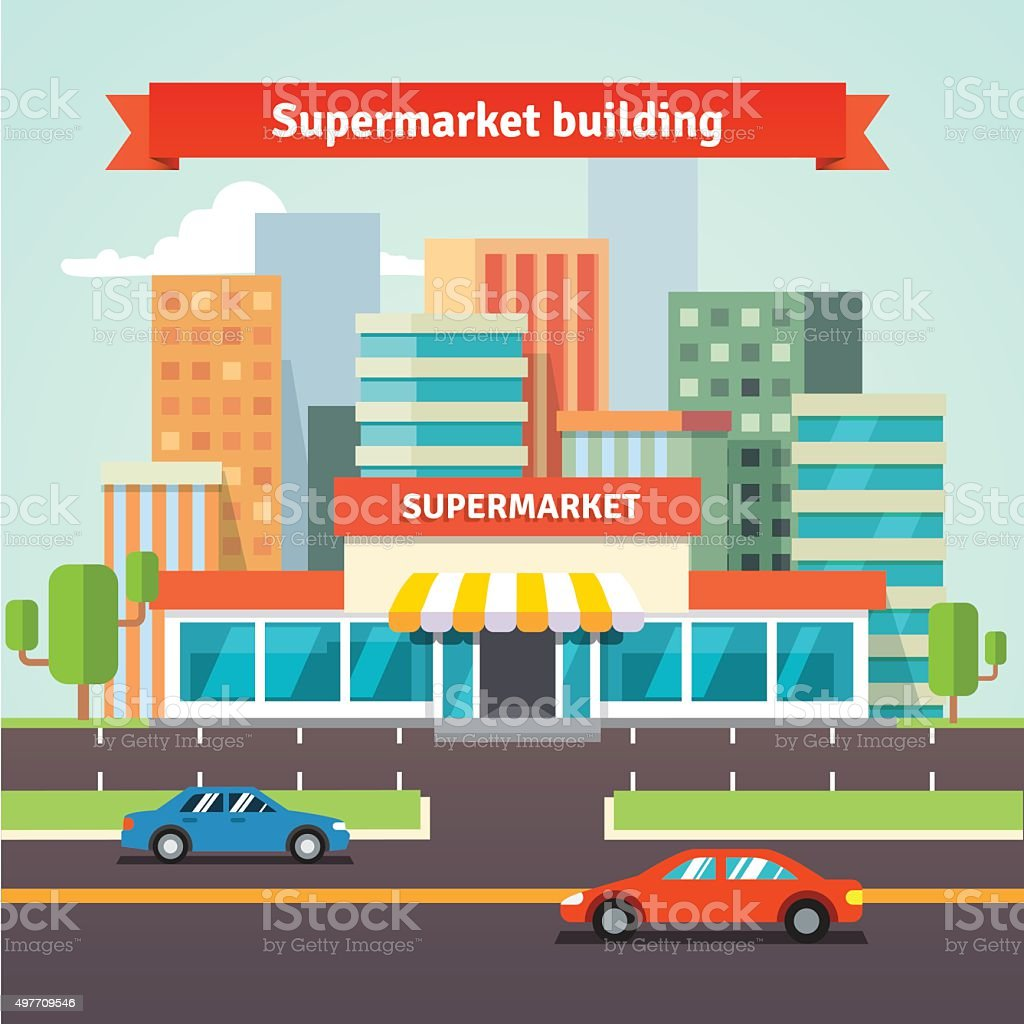Roadside supermarket and cityscape background vector art illustration