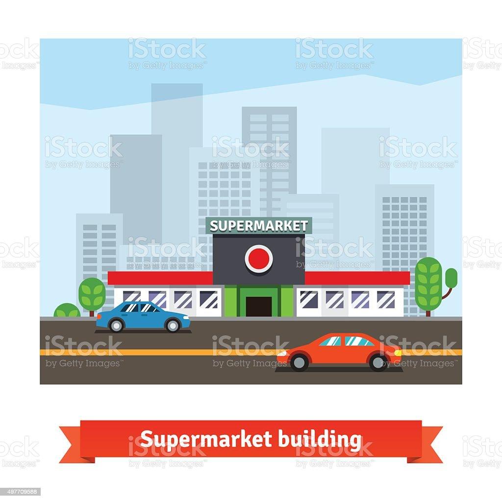 Roadside supermarket and cityscape background vector art illustration