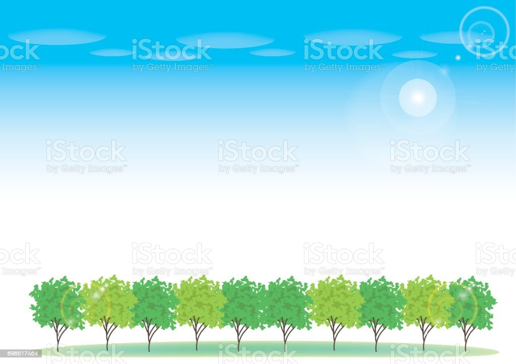 roadside tree and blue sky image vector art illustration