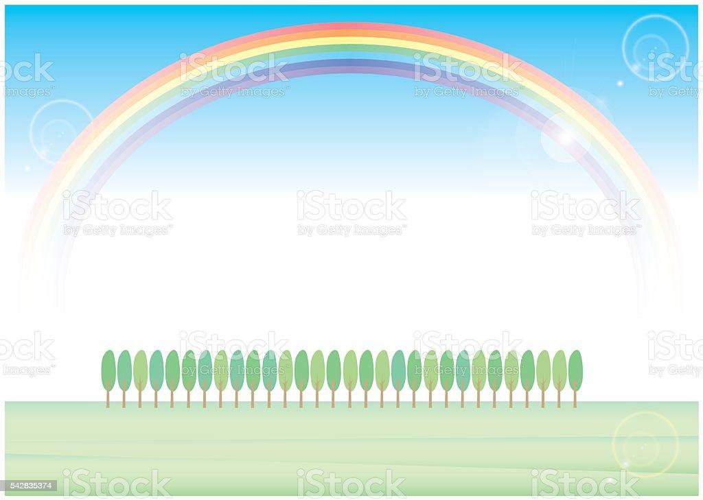 roadside tree and rainbow vector art illustration