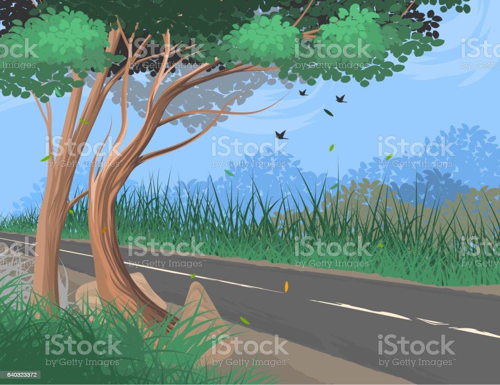 Roadside vector art illustration
