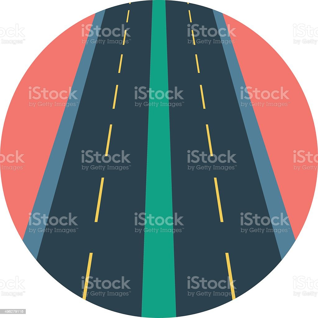 Roadway Colored Vector Illustration vector art illustration