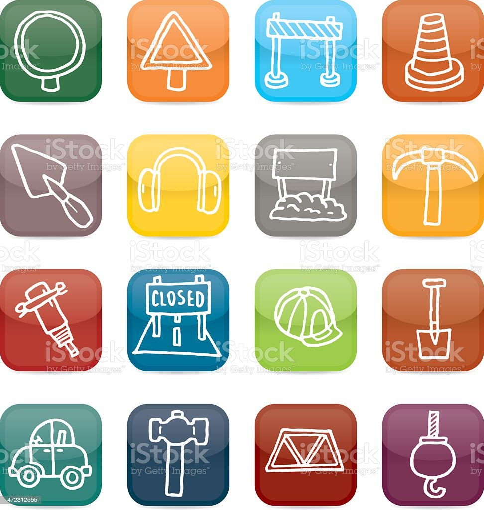 Roadworks glossy app style icon set royalty-free stock vector art