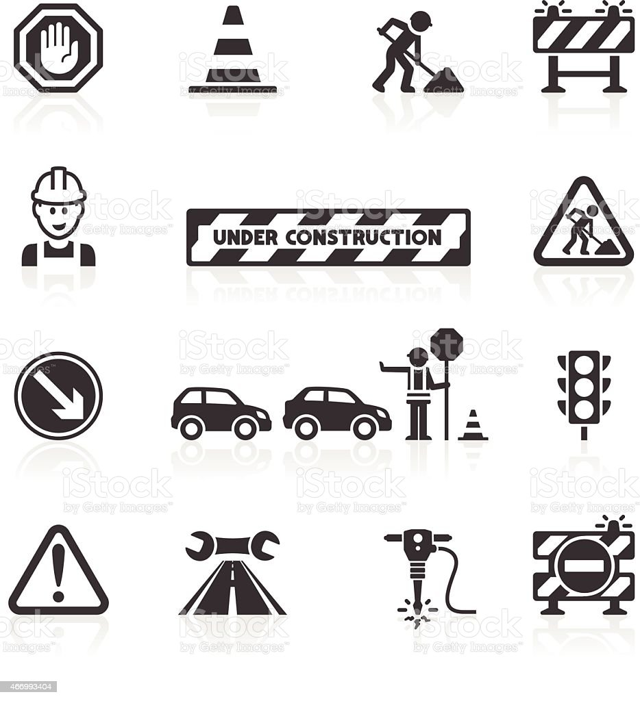 Roadworks icons vector art illustration