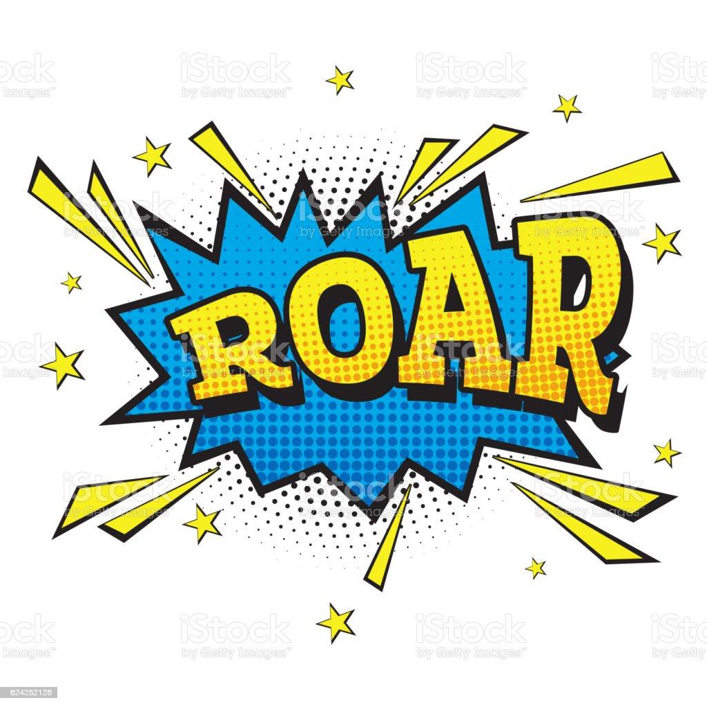 Roar. Comic Text in Pop Art Style. vector art illustration