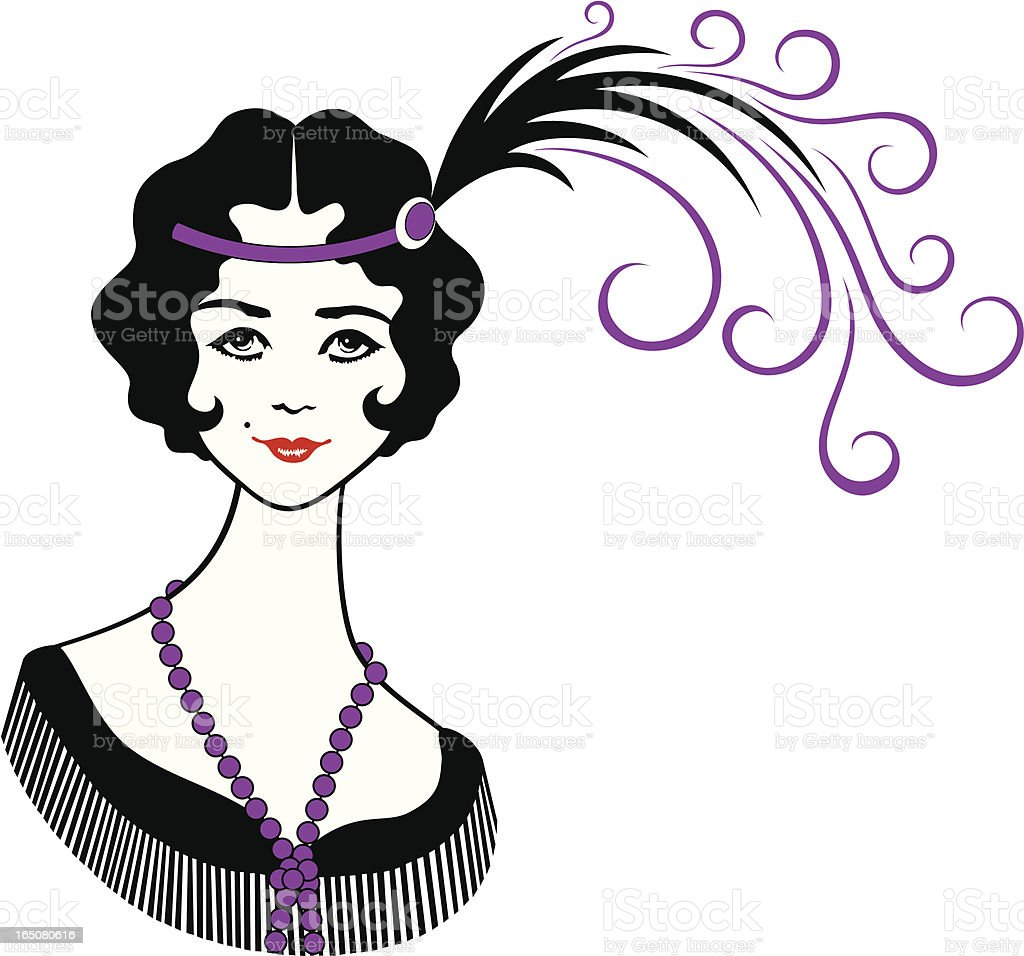 Roaring 1920's Flapper Girl royalty-free stock vector art