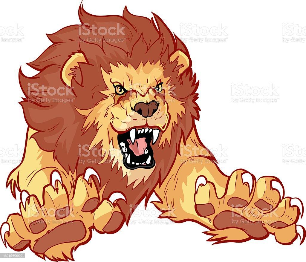 Roaring Lion Leaping Forward Vector Illustration vector art illustration