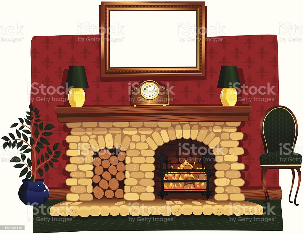 Roaring log fire and stone hearth vector art illustration