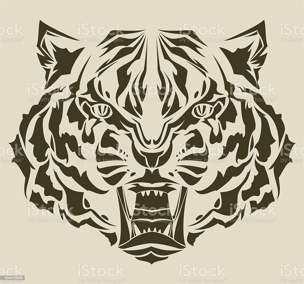Roaring tiger complex silhouette royalty-free stock vector art