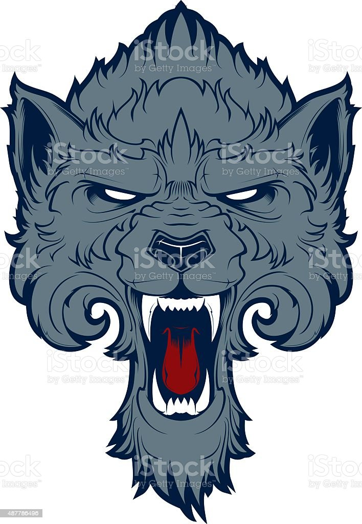 Roaring wolf vector art illustration