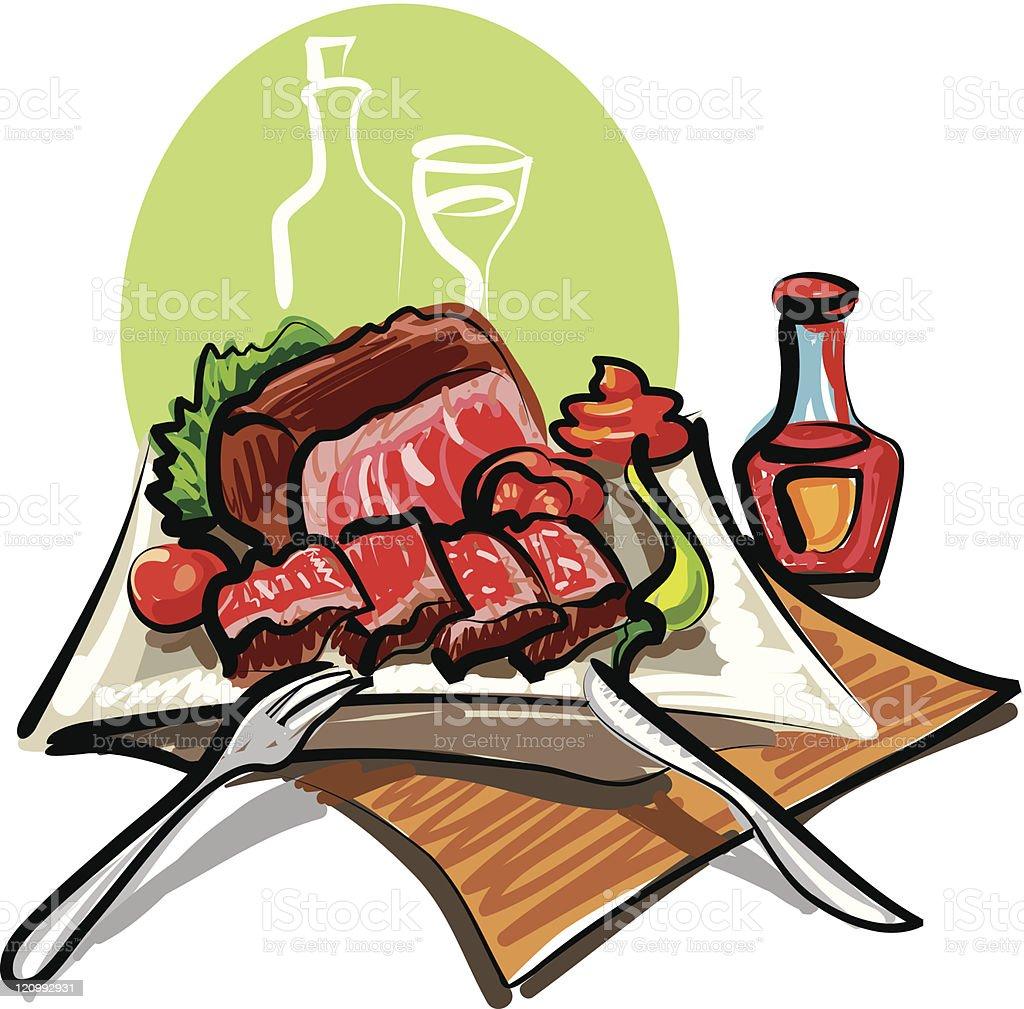 roast beef and vegetables vector art illustration