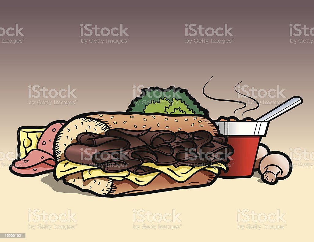 Roast Beef Sandwich Lunch royalty-free stock vector art