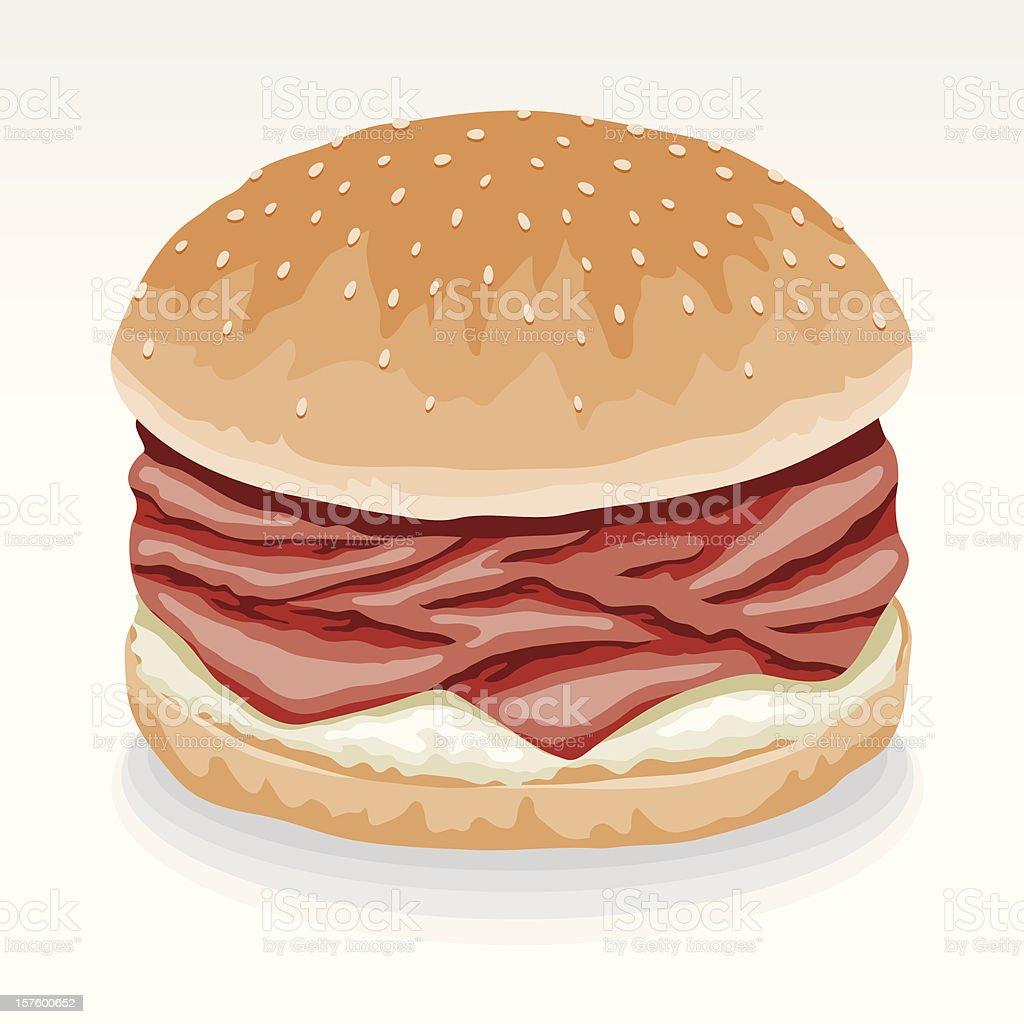 Roast Beef Sandwich with Horseradish vector art illustration