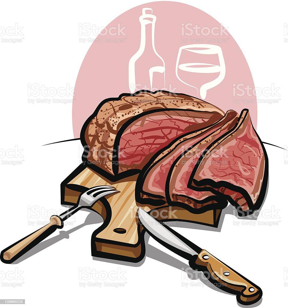 Roast beef vector art illustration