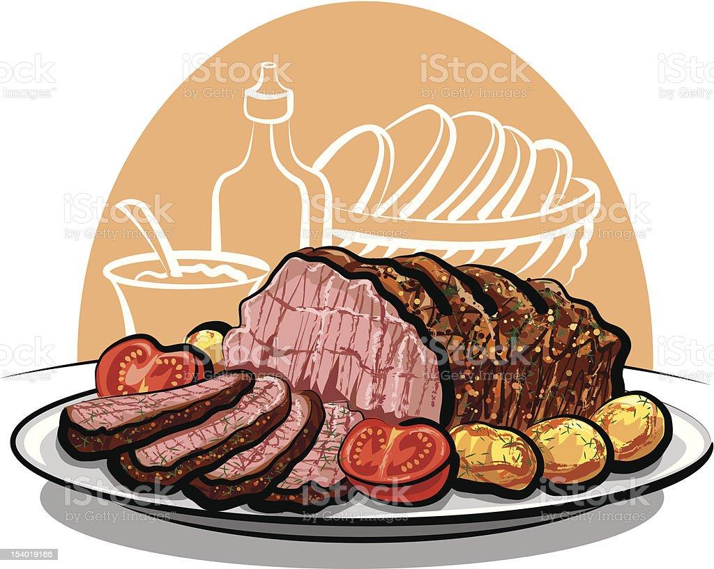 Roast beef with potatoes vector art illustration