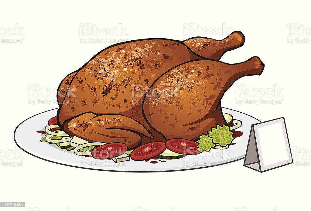 roast chicken vector art illustration
