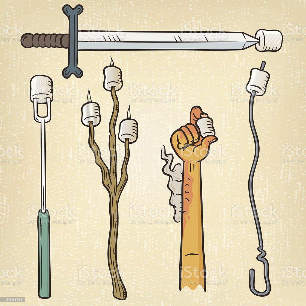 Roast Marshmallow vector art illustration