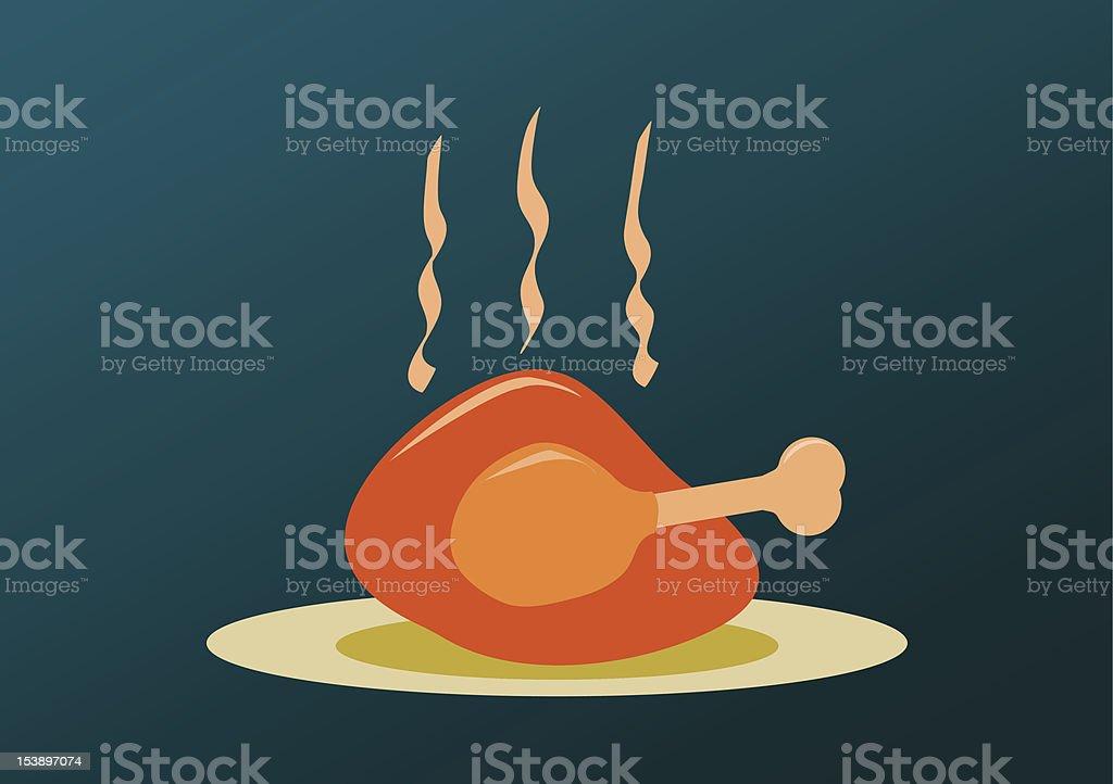 Roast turkey cartoon design background vector art illustration