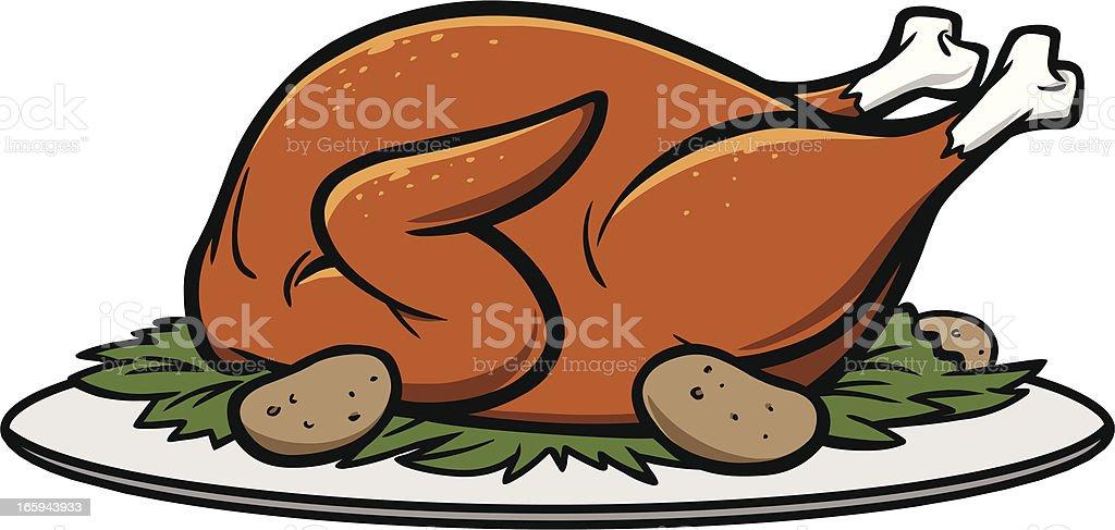 Roast Turkey Dinner vector art illustration