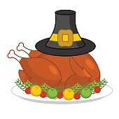 Roast turkey for Thanksgiving and pilgrim hat. fowl on plate