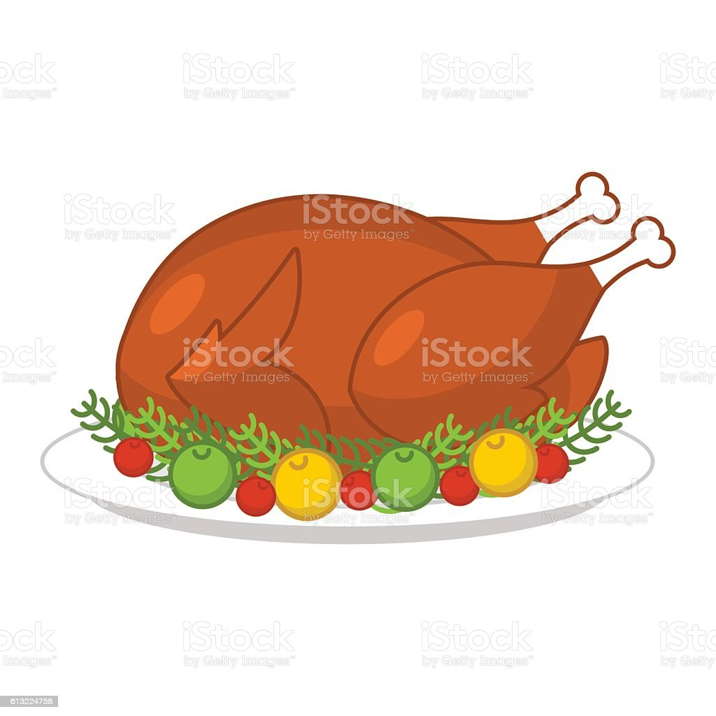 Roast turkey for Thanksgiving. Fowl on plate. Roast wildfowl wit vector art illustration