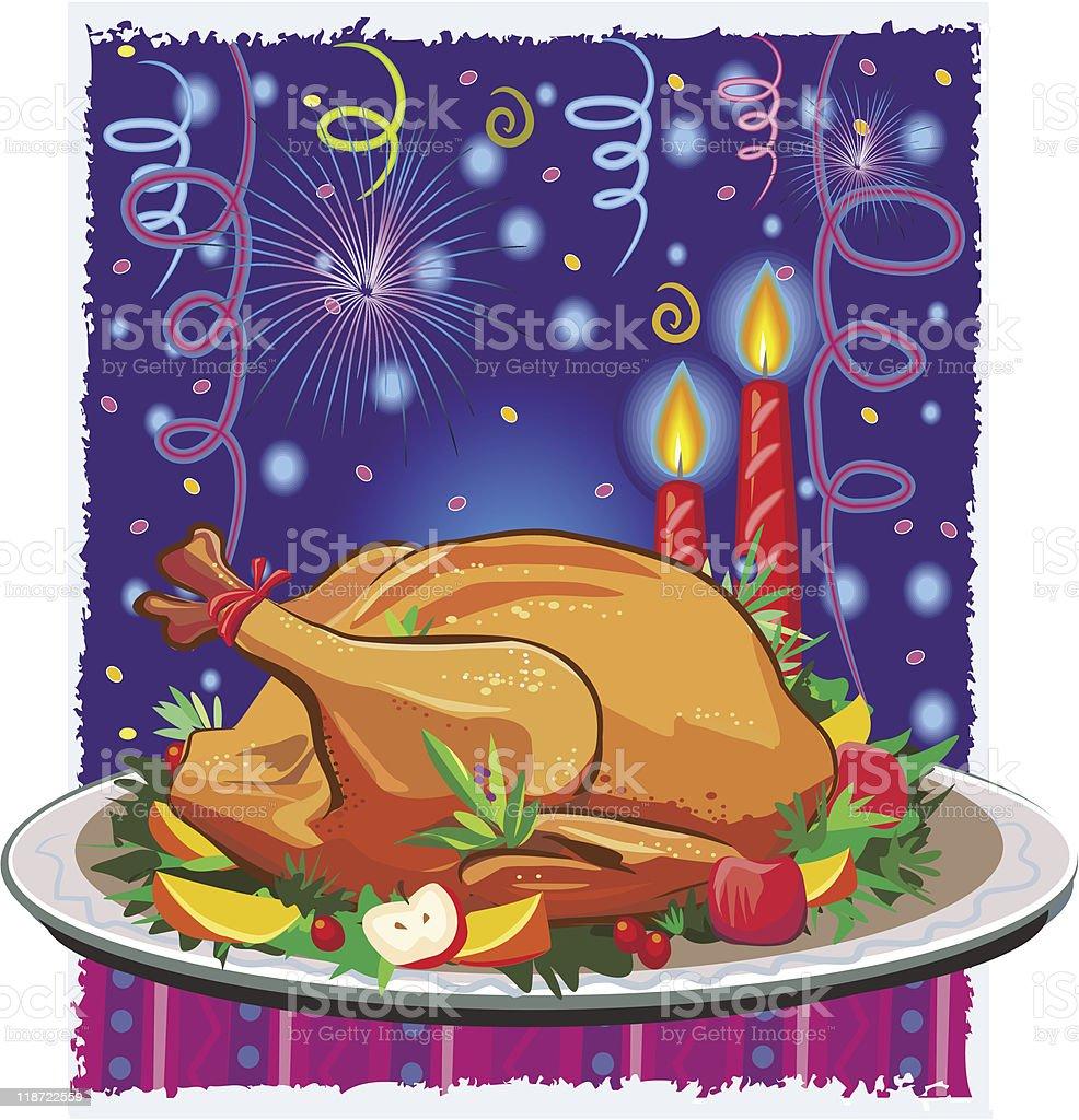 Roast turkey royalty-free stock vector art